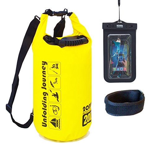 Best Waterproof Dry Bag, 20L, Keep Your Things Dry! With Should Strap, Phone Bag Included. Perfect for Kayaking, Fishing, Boating, Canoeing, Beach, Camping, By 2ONE6 Adventure