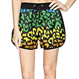 LUWI Women's Colorful Leopard Print Beach Board Shorts Quick Dry Swim Trunks