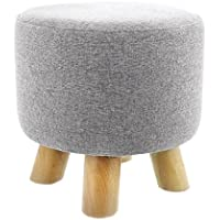 Juvale Ottoman Footstool - Round Pouf Ottoman Foot Rest with Removable Linen Fabric Cover, Grey