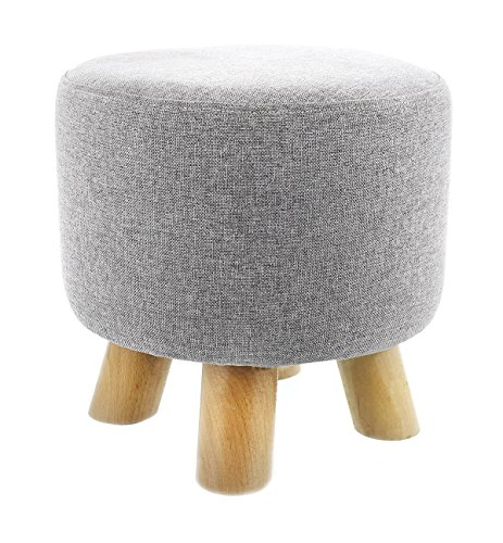 Ottoman Footstool (Ottoman Footstool - Round Pouf Ottoman Foot Rest With Removable Linen Fabric Cover, Grey)
