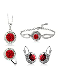 Sale At Cut-throat Prices Cheap Crystal Earring Necklace Ring Bracelet Jewelry Set