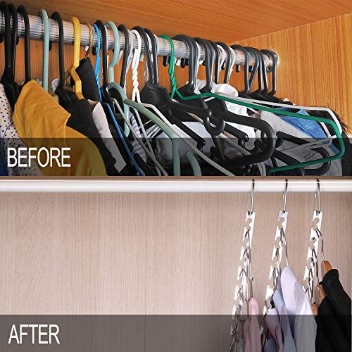 Vertical hangers are a great bedroom space saver idea to extend closet space in a small bedroom