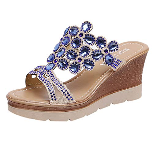 Auniemifly Women Rhinestone Peep Toe Wedges Slides Breathable Beach Sandals High Slope Slip-On Shoes Blue