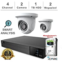 iCare-DVR Smart Analysis DVR Security Kits: 4CH Hybrid DVR + (2) 2MP Outdoor Turret White Eyeball (3 Years Warranty; Local US Support, No Hard Drive Included)