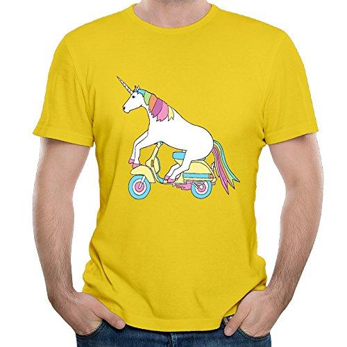Adult Mens T-Shirts Unicorn Print Shirt Casual Short Sleeve Top Yellow Tees