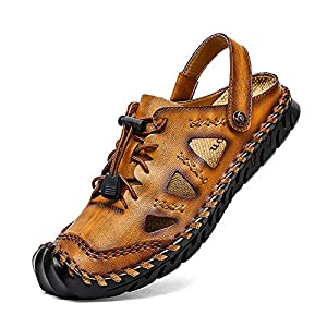 Mens Outdoor Sandals Hiking Camping Sandals Genuine Leather Fisherman Shoes