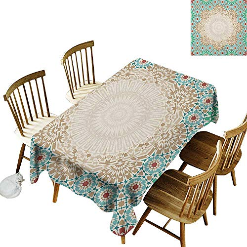 Rectangular tablecloths in a variety of colors and sizes Can be used for parties Ottoman Mosaic Art Pattern with Oriental Floral Forms Antique Scroll Ceramic Boho Print W14 x L108 Inch Multi
