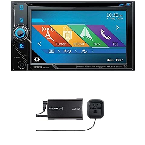 Clarion VX405 2-Din DVD Multimedia Station with SiriusXM SXV300v1 Connect Vehicle Tuner Bundle (Clarion Android)