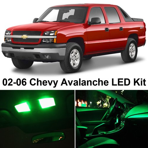 LEDpartsNOW Chevrolet Avalanche 2002-2006 GREEN Premium LED Interior Lights Package Kit (20 Pieces)