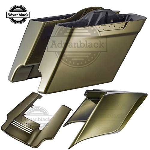 Olive Gold 4 1/2 INCH Stretched Hard Saddlebags Side Covers Fender Extension Extended Saddlebags Fit for Harley Touring Road Street Glide Electra Glide 2014-2019 ()