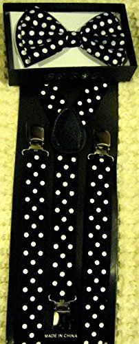 Adult Polka Dot (Unisex Fashion Adults Teens Teenagers Black with White Polka Dot Adjustable All Polyester Silk Bow Tie and Matching Adult Teens Teenagers Black with White Polka Dot Adjustable Suspenders Combo-new in Factory Pkg!)