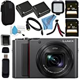 Panasonic Lumix DC-ZS200 DC-ZS200K Digital Camera (Black) + DMW-BLG10 Lithium Ion Battery + 32GB SDHC Card + 128GB SDXC Card + Small Carrying Case + Deluxe Cleaning Kit + LED Light Bundle