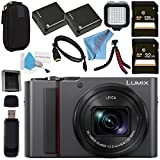 Panasonic Lumix DC-ZS200 DC-ZS200S Digital Camera (Silver) + DMW-BLG10 Lithium Ion Battery + 32GB SDHC Card + 128GB SDXC Card + Small Carrying Case + Deluxe Cleaning Kit + LED Light Bundle For Sale