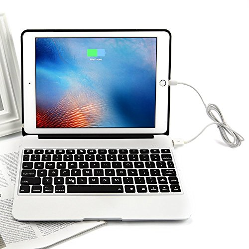 PinPle iPad Pro 12.9 Keyboard Bluetooth with 7 Colors LED Backlit Slim Aluminum Wireless Keyboard with Clamshell Protective Case & Free Tempered Glass Screen Protector (Silver) by PinPle (Image #5)