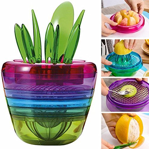 10 in 1 Fruit Vegetable Dice Set, Multi functional Kitchen Gadget, Salad Making includes Lemon Squeezer, Apple Cutter, Orange Peeler, Avocado Scooper, Slicer and Fork