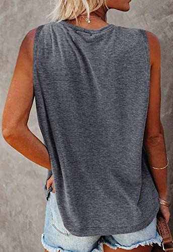 MIROL Women's Sleeveless Tank Tops Basic Loose Tunic T Shirts Batwing Sleeve Solid Color Casual Tee with Pocket