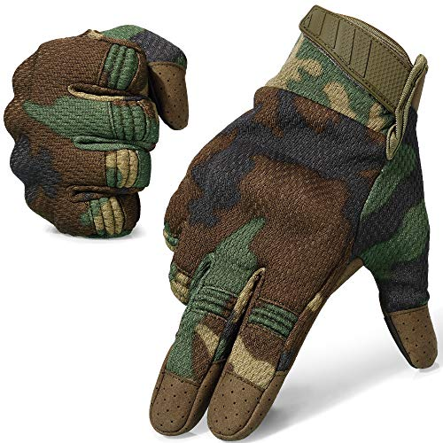 AXBXCX Breathable Flexible Rubber Hard Knuckle Full Finger Tactical Gloves Protection for Riding Driving Motorcycle Cycling ATV Dirtbike Motorbike Hunting Shooting Airsoft Paintball Camo Woodland L