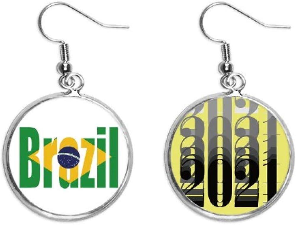 Pendientes de moda con nombre de la bandera del país de Brasil, regalo Art Deco