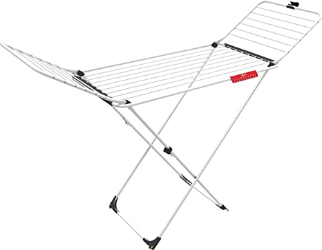 Vileda Extra - Tendedero X-legs de acero y aluminio, con alas plegables, 20 metros de espacio de tendido, con soporte para artículos pequeños, ...