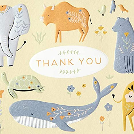 Koala Elephant Giraffe Hallmark Baby Shower Thank You Cards Turtle Whale 20 Cards with Envelopes for Baby Boy or Baby Girl Painted Animals