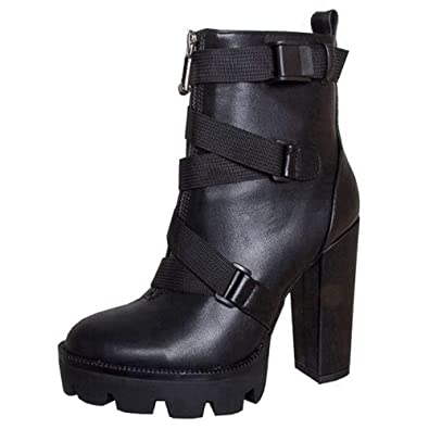 33fee1228831 ASILETO High Platform Block Heel Ankle Boots Buckle Strips Zipper Pointed  Toe PU Suede Spring Autumn