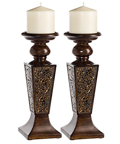 Wedding Candle Holder Centerpiece Decor - Creative Scents Schonwerk Pillar Candle Holder Set of 2- Crackled Mosaic Design- Functional Table Decorations- Centerpieces for Dining/Living Room- Best Wedding/Anniversary Gift (Walnut)
