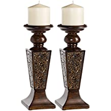 Creative Scents Schonwerk Pillar Candle Holder Set of 2- Crackled Mosaic Design- Functional Table Decorations- Centerpieces for Dining/Living Room- Best Wedding Gift (Walnut)