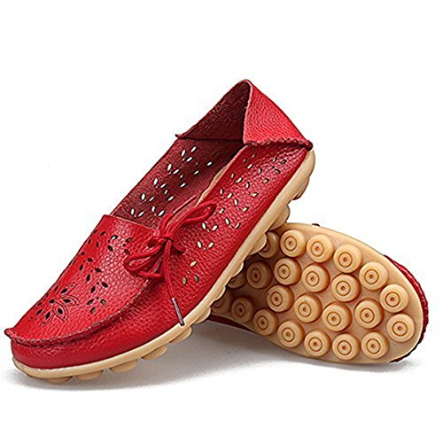 Goeao Womens Leather Loafers Cowhide Lace Up Casual Moccasin Driving Shoes Flat Indoor Slip-On Slippers 2.red wLrXgazY