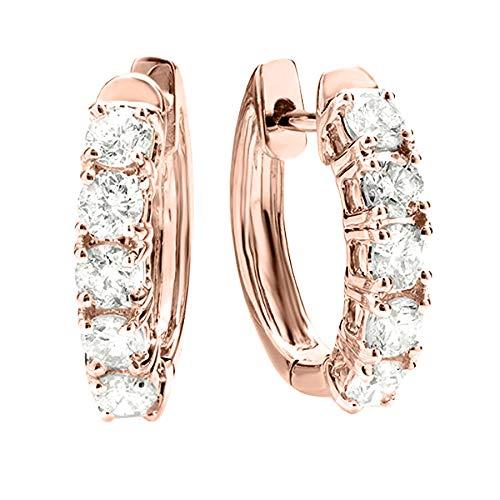 4 Carat t.w. Five Stone Diamond Hoop Huggie Earrings Premium Collection 14K Rose Gold
