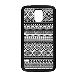Black and White Aztec Tribal Patterned Protective PC Back Fits Cover Case for Samsung Galaxy S5