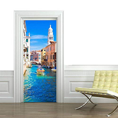 (Memories to Venice River Blue 3D Vivid Removable Wall Decor Door Panel Decal of Sliding Door Cover Party Accessory Wallpaper Stickers for Home Decoration-No Damage to Door (Venice Map 2017))