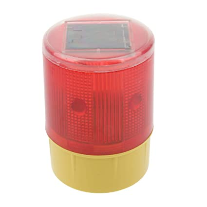 LED Solar Powered Strobe Warning Flashing Flicker Beacon Road Light 3.7V