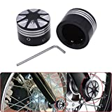 KaTur Black CNC Deep Cut Front Axle Nut Cover Bolt For Harley Touring Softail Road King Glide FLTR