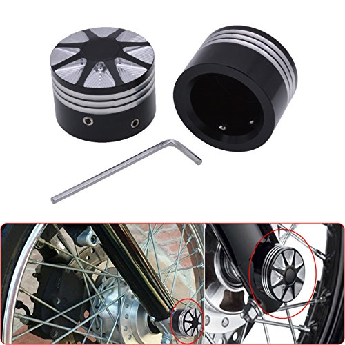 KaTur Black CNC Deep Cut Front Axle Nut Cover Bolt For Harley Touring Softail Road King Glide FLTR by KaTur