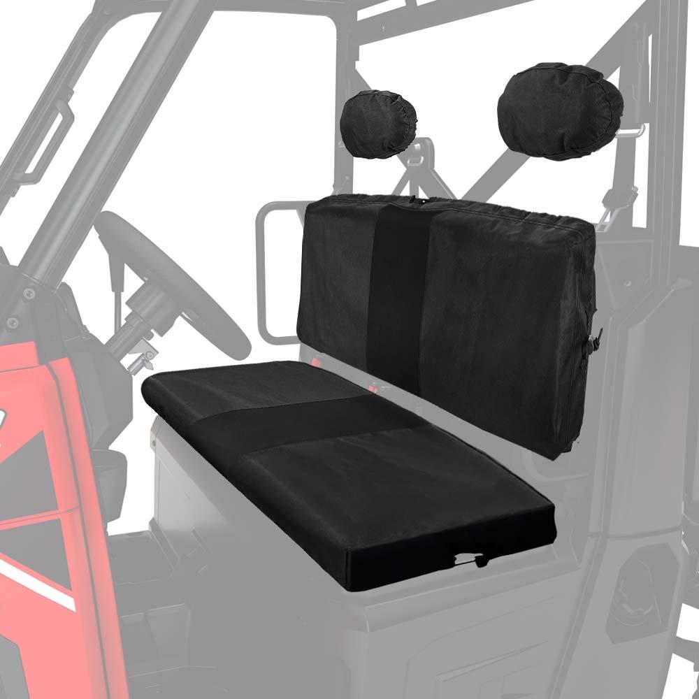 KEMIMOTO UTV Bench Seat Cover for Polaris Ranger 800 900 XP Waterproof Material Black by kemimoto