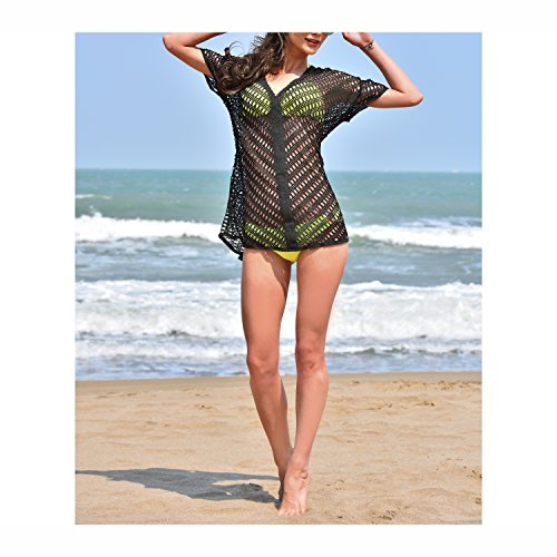 MG Collection Openwork Black Cotton Lace V-Neck Beach Swimsuit Cover Up Top