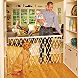"Cheap ""Expandable Swing Gate"" by North States: Equipped with a safety rail which adjusts automatically when the gate expands. Hardware mount. Fits openings 24″ to 60″ wide (32″ tall, Natural wood)"