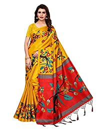 CRAFTSTRIBE Bridal Saree Party Wear Wedding Bollywood Women's Art Silk Sari