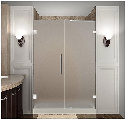 "Aston Nautis Completely Frameless Hinged Shower Door in Frosted Glass, 49"" x 72"", Polished Chrome"
