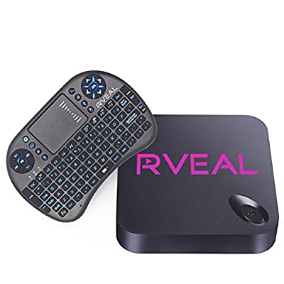 Rveal Streaming Media Player & Android Smart TV Box with Upgraded Rveal Mini Touchpad Remote & Keyboard