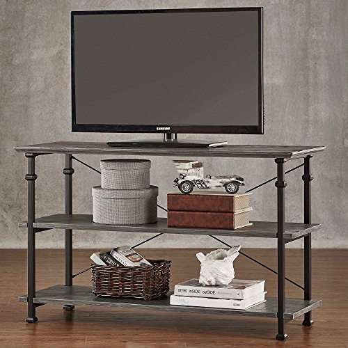 ModHaus Modern Industrial Gray Rustic Wood and Metal TV Stand - for Televisions up to 48 inches Includes ModHaus Living (TM) Pen (Lcd Bookcase Tv)