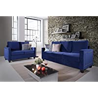 Kings Brand Furniture – Blue Velvet Upholstered Nailhead Sofa & Loveseat Living Room Set