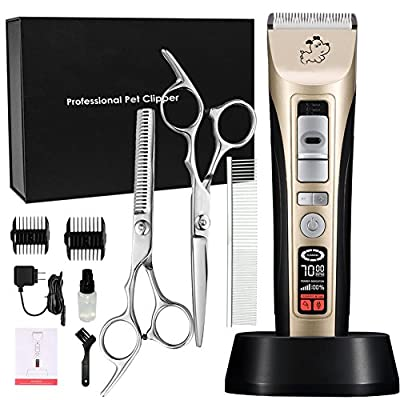 cyrico 5-Speed Professional Pet Grooming Clippers Heavy Duty, Pet Clippers Kit for Thick Coat Dogs & Cats, LED Screen Indicate Power/Oil/Cleaning