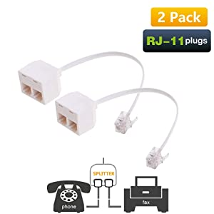 Uvital RJ11 Male to Dual Female 6P4C Splitter Converter Cable Male to 2 Female Separator Cord RJ11 6P4C Telephone Wall Adaptor for Landline(2 Pack)