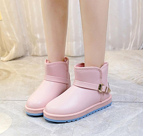 KUKI Damenschuhe, Damenstiefel, Verdickung, wasserdicht, Schneeschuhe, warm, rutschfest, Damen Baumwollschuhe pink
