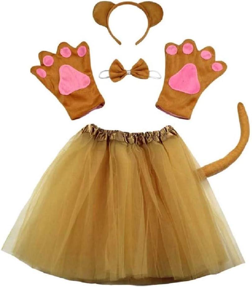 Lote disfraz oso teddy girl tutu diadema guantes pajarita cola papillon cosplay