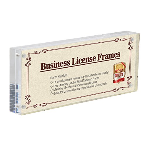 4x10 Business License Frame, Clear Acrylic Panoramic Photograph Picture Frame with Gift Box Package, Double Sided Frameless Photo Display (4