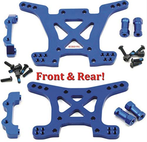 Traxxas 6838X + 6839X Front & Rear Aluminum Shock Tower Blue Slash 4x4 Blue Aluminum Shock Tower