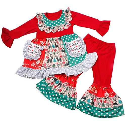 Christmas Girls Boutique Clothing Set - Toddler Kids Girls 2 Piece Ruffle Dress Pants Outfits 4T