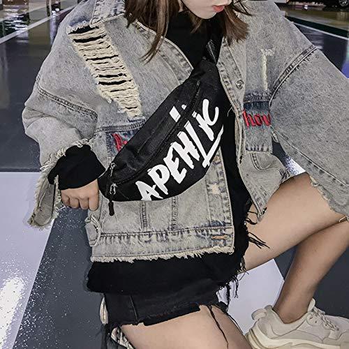 Pareja Negro Luminosa Bolsos Mochila Viaje Paquete Bolsa De Colección Cintura Senderismo qEUv47w